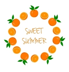 Frame of Oranges and Orange Slices vector image vector image