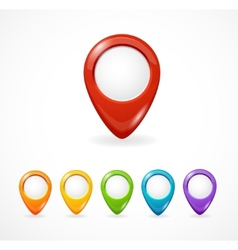 glossy map pointer set Icon pin vector image