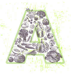 ink hand drawn fruits and vegetables vitamin a vector image