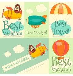 Set of Travel Posters with Air Vehicles vector image