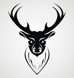 Black Deer Head vector image