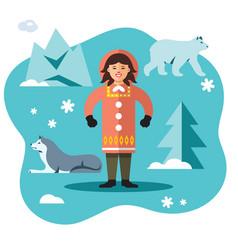eskimo flat style colorful cartoon vector image vector image