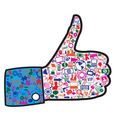 hand with social media icons vector image vector image