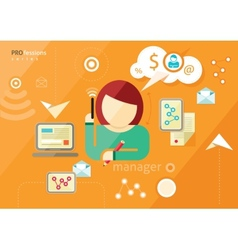 Manager profession Workplace office desk vector image vector image