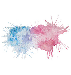pink and blue watercolor splash stain vector image vector image
