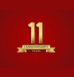 11 years anniversary golden design color vector