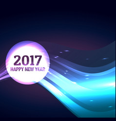 2017 happy new year design with wave vector