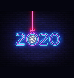 2020 happy new year neon sign new year vector