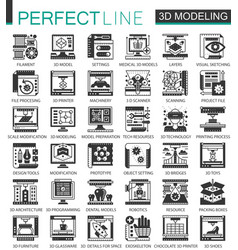 3d modelling and printing black mini concept vector