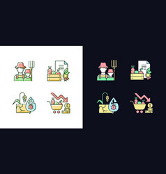 Agribusiness light and dark theme rgb color icons vector