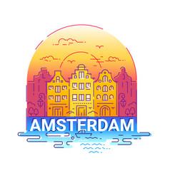 amserdam - modern line travel vector image