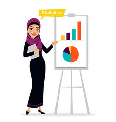 Arab business woman shows profit growth vector