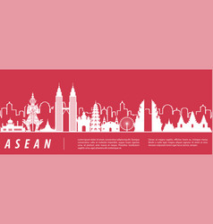 Asean famous landmark silhouette with red and vector