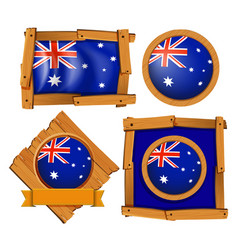 Australia flag on different frame designs vector