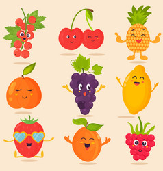 big bright set of funny cartoon fruits vector image