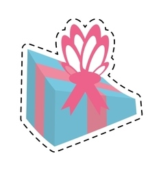 Blue gift box packaging party line dotted vector