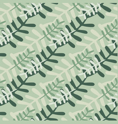 Botanic floral branches seamless pattern grey vector