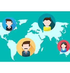Business people on world map vector