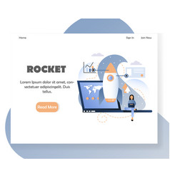 Business rocket website landing page design vector