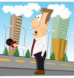 cartoon news reporter with microphone vector image