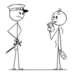 cartoon policeman controlling alcohol level vector image