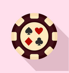 casino chip sign card icon flat style vector image
