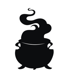 cauldron with a magic potion black silhouette of vector image