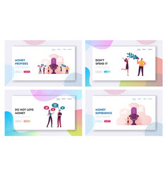 characters money talks landing page template set vector image