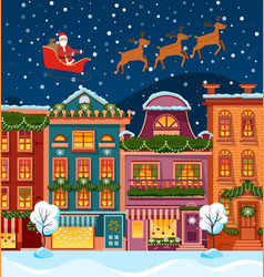 city street at night with santa and reindeer at vector image