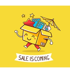 Colorful cheerful character shopping box vector