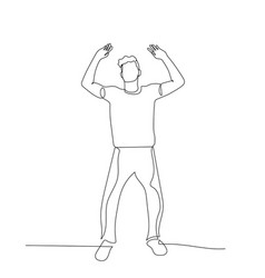 Continuous one line dancing man relaxes vector