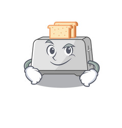 Cool bread toaster mascot character with smirking vector
