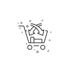 Cross sell line icon market retail sign vector