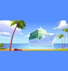 cruise liner in ocean modern white ship sailboat vector image