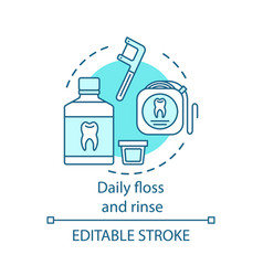 Daily floss and rinse concept icon vector