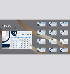 Design a 2020 calendar template that can be edited vector