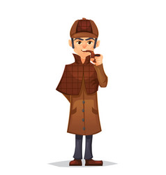 Detective man character smoking pipe design vector