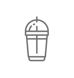 disposable cup with milkshake takeaway line icon vector image