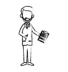 doctor man professional medical work sketch vector image