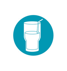 Drinks fresh glass cup water with straw blue block vector