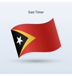 East Timor flag waving form vector image