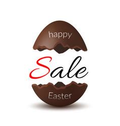 Easter egg text sale chocolate broken happy vector