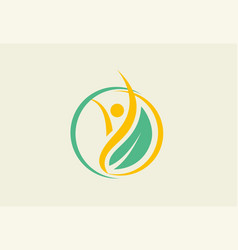 Eco people leaf logo vector