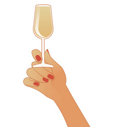 female hand holding a glass white wine vector image