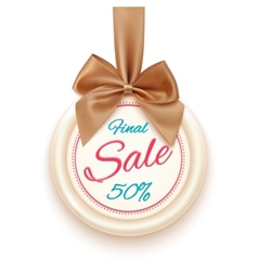 Final sale badge with golden ribbon and a bow vector