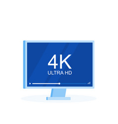 flat screen tv with 4k ultra hd video technology vector image