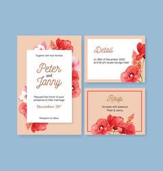 Flower garden wedding card design with poppy vector