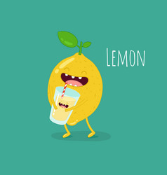 Funny lemon with juicer and glass of lemonade vector