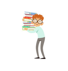 Funny nerd boy carrying stack of books cartoon vector