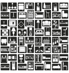 furniture icons black vector image vector image